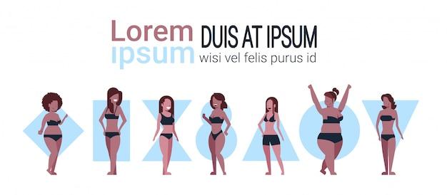 Diferentes mujeres que usan plantilla de banner de bikinis