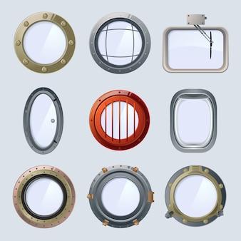Diferentes naves redondas y portillas de avión. ilustración de vector aislado en blanco
