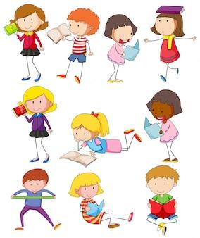 Diferentes niños leyendo libros
