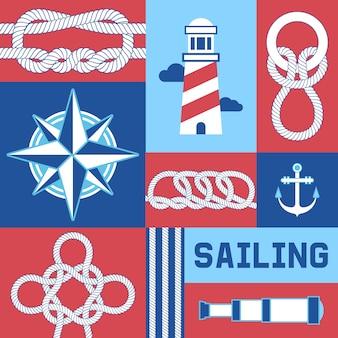 Diferentes nudos marinos náuticos y cuerdas brújula, ancla, faro ilustración.