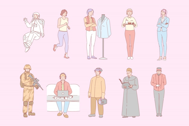 Diferentes ocupaciones de personas, profesiones establecer concepto
