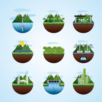 Diferentes paisajes con recursos de tipos de energía