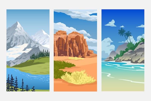 Diferentes paisajes con varios biomas naturales.
