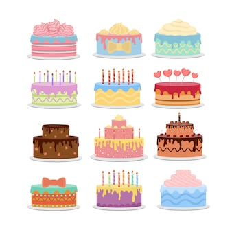 Diferentes pasteles establecidos. tortas de vacaciones con decoraciones.
