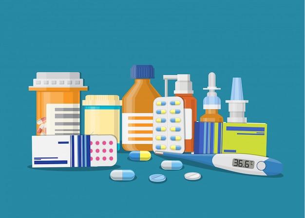 Diferentes pastillas y botellas médicas,