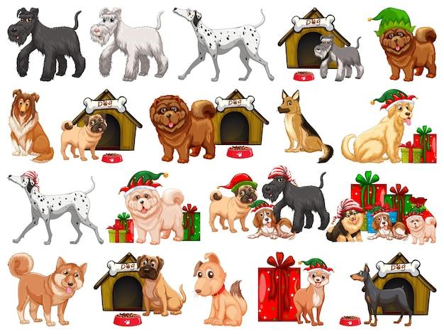 Diferentes perros divertidos en estilo de dibujos animados aislado sobre fondo blanco.