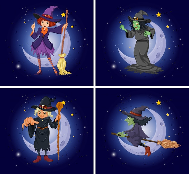 Diferentes personajes de brujas en escoba mágica.