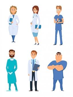 Diferentes personajes de dibujos animados personales médicos.