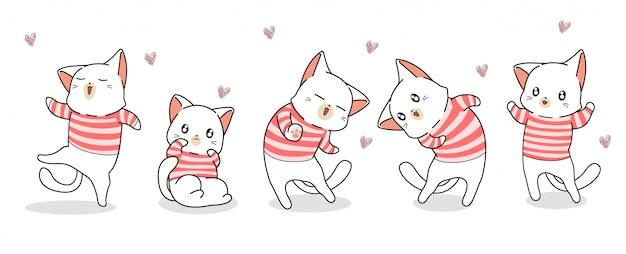 Diferentes personajes de gato kawaii dibujados a mano