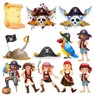 Diferentes personajes piratas y piratas símbolos ilustración