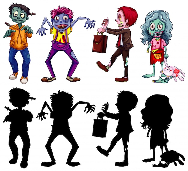 Diferentes personajes de zombies en color y silueta estilo de dibujos animados