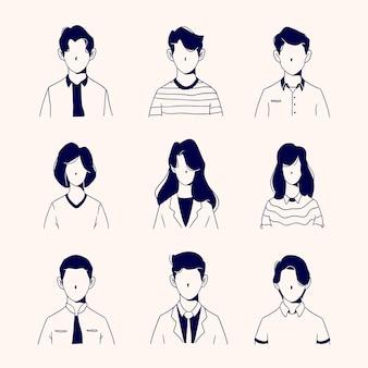 Diferentes personas avatares hombre personaje mujer personaje