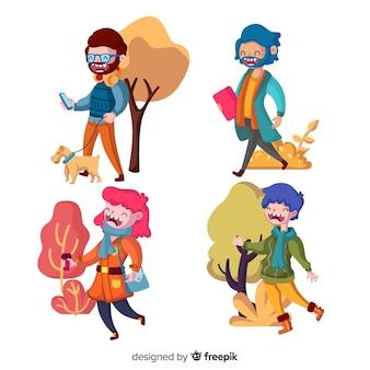 Diferentes personas caminando en otoño