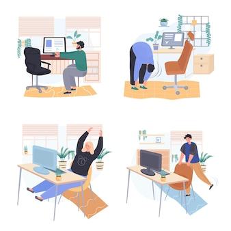 Diferentes personas se ejercitan en escenas de concepto de dormitorio de lugar de trabajo establecen ilustración vectorial de personajes