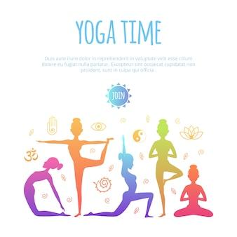 Diferentes personas haciendo practica de yoga
