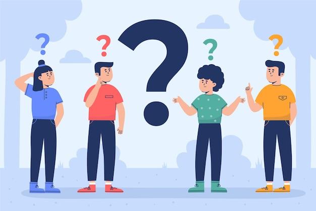 Diferentes personas haciendo preguntas ilustradas.