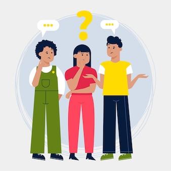 Diferentes personas haciendo preguntas