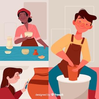 Diferentes personas que intentan hacer objetos de cerámica.