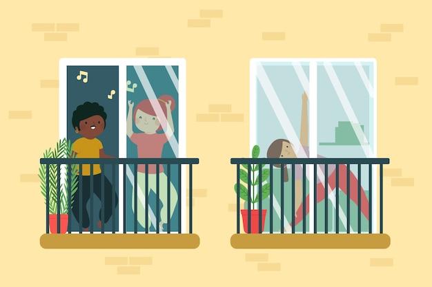 Diferentes personas que realizan actividades de ocio en el balcón.