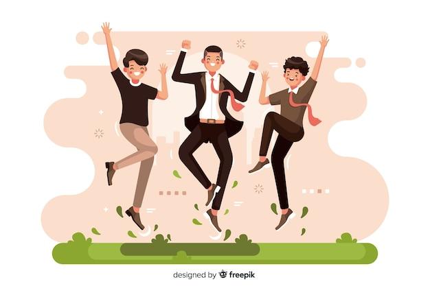 Diferentes personas saltando juntas ilustradas