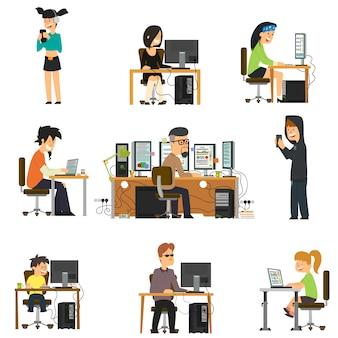 Diferentes personas trabajan y se divierten para diferentes aparatos electrónicos.