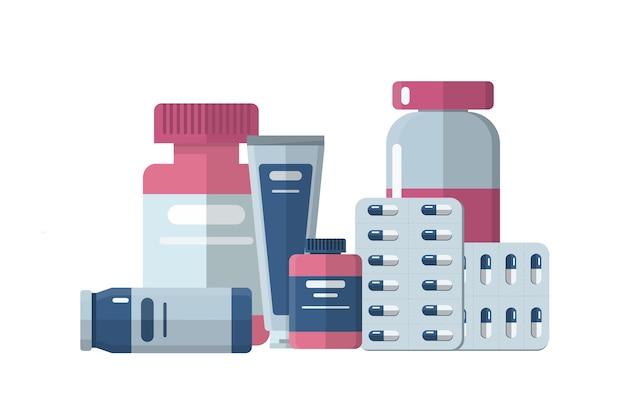 Diferentes píldoras y botellas médicas, ilustración de salud en estilo plano.