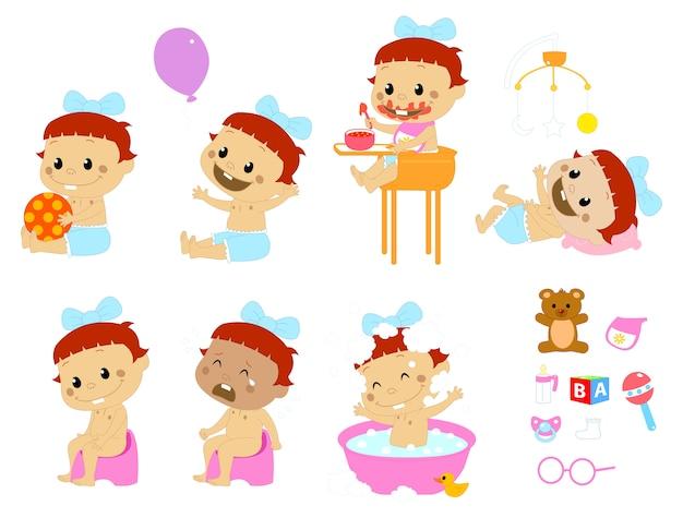 Diferentes poses y accesorios para bebés.