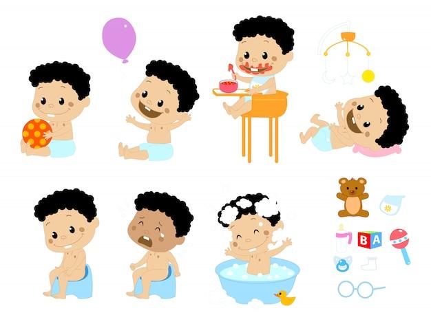 Diferentes poses y complementos para bebés.