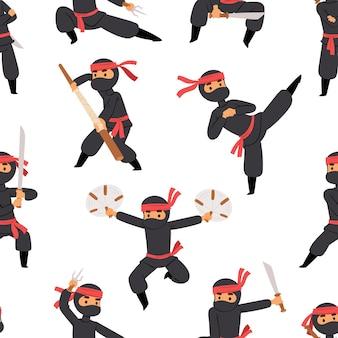 Diferentes poses de luchador ninja en tela negra personaje guerrero espada arma marcial hombre japonés y patrón transparente de persona de dibujos animados de karate.