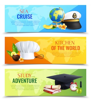 Diferentes profesiones sombreros banners horizontales