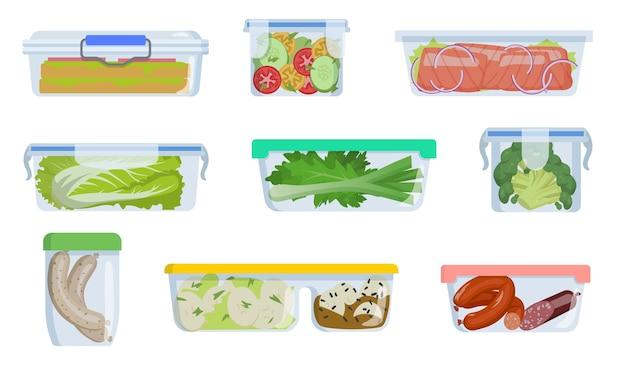 Diferentes recipientes de plástico con ilustración de comida.