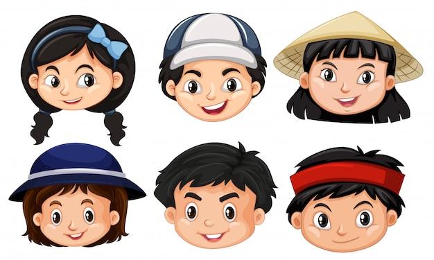 Diferentes rostros de niños asain