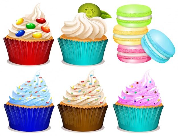 Diferentes sabores de cupcakes.