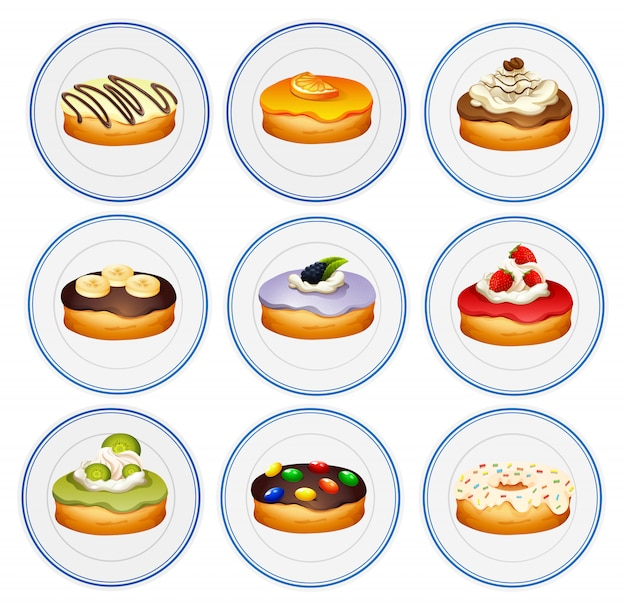 Diferentes sabores de donuts.