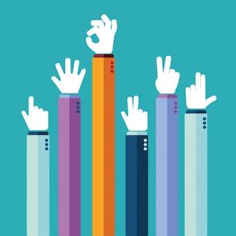 Diferentes señales con las manos