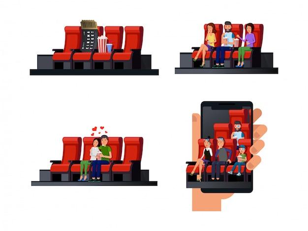 Diferentes servicios y comodidades en el conjunto plano de cine.
