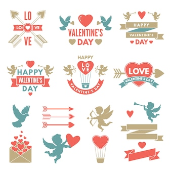 Diferentes símbolos y etiquetas para el día de san valentín.