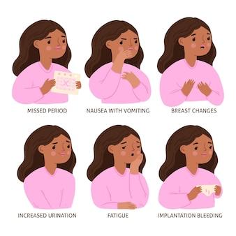 Diferentes síntomas ilustrados del embarazo.