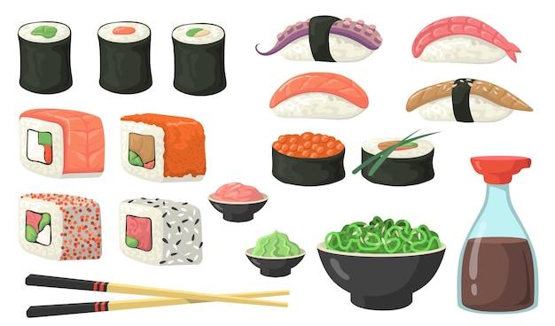 Diferentes sushi, rolls y nigiri flat set.