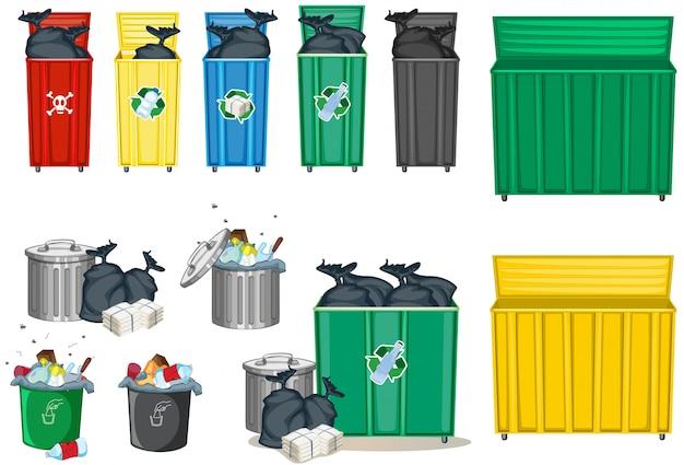 Diferentes tamaños de basurero