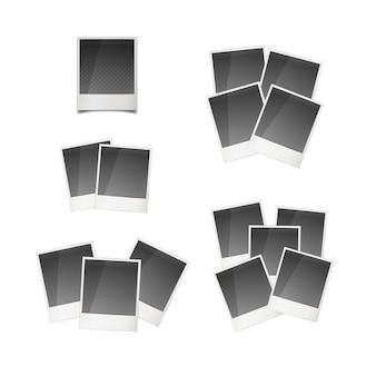 Diferentes tarjetas fotográficas instantáneas retro aisladas en blanco