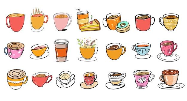 Diferentes tazas de colores y tazas para café y tes. estilo de dibujos animados. aislado sobre fondo blanco.