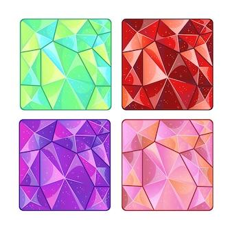 Diferentes texturas de piedras preciosas para el juego. ilustración de dibujos animados.