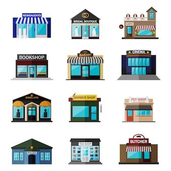 Diferentes tiendas, edificios y tiendas icono plano conjunto aislado en blanco. incluye prensa, boutique nupcial, cafetería, librería, panadería, cine, joyerías, peluquería, tienda de mascotas, policía, tienda de té, carnicería.