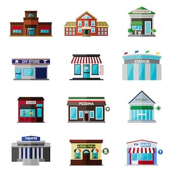 Diferentes tiendas, edificios y tiendas icono plano conjunto aislado en blanco. incluye restaurante, escuela, florería, tienda, tienda de bricolaje, estadio, sastres, pizzería, farmacia, teatro, pub irlandés, productos lácteos.