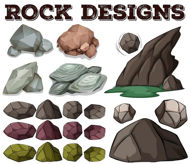 Diferentes, tipo, roca, diseños, ilustración