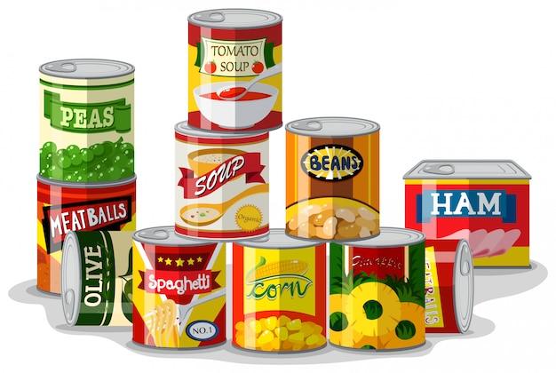 Diferentes tipos de alimentos enlatados.