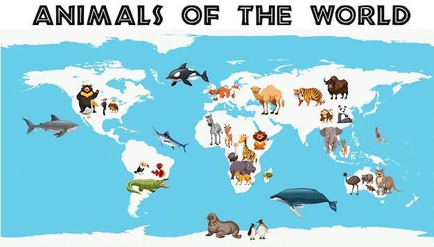 Diferentes tipos de animales alrededor del mundo en el mapa