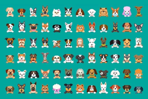 Diferentes tipos de caras de perro de dibujos animados vector