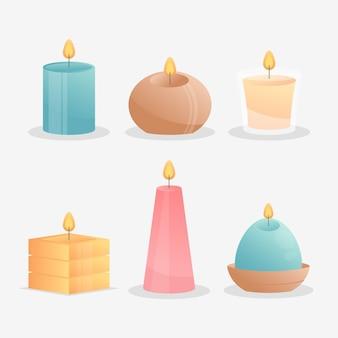 Diferentes tipos de colección de velas perfumadas.